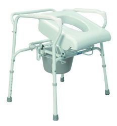 Lift Chairs & Access Transforms any ordinary commode into an automatic lifting commode * Commode Assist attaches to the frame of most popular aluminum or steel bedside commodes and is easily removed for  transport * Lifting action provided by hydro-pneumatic piston that slowly and automatically releases when users shift their weight forward to stand: no batteries to replace or levers to push * Commode Assist is easily removed and flattens for easy transport - minimum assembly required * Five weight settings accomodate users weighing between 80 to 230+ Lbs * Features a 20 degree lift * HCPC Code: E0171 *